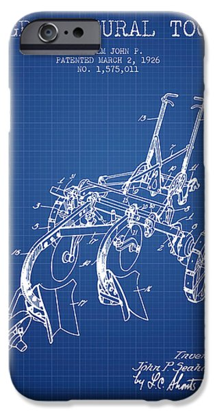Plow iPhone Cases - Agricultural Tool patent from 1926 - Blueprint iPhone Case by Aged Pixel