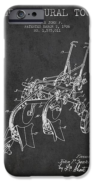 Plow iPhone Cases - Agricultural Tool patent from 1926 - Dark iPhone Case by Aged Pixel