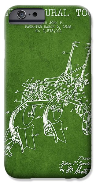 Plow iPhone Cases - Agricultural Tool patent from 1926 - Green iPhone Case by Aged Pixel
