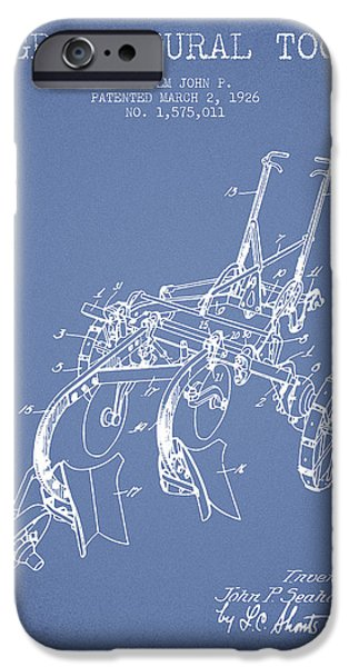Plow iPhone Cases - Agricultural Tool patent from 1926 - Light Blue iPhone Case by Aged Pixel