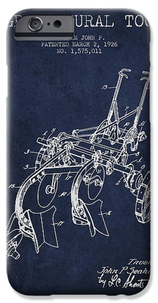 Plow iPhone Cases - Agricultural Tool patent from 1926 - Navy Blue iPhone Case by Aged Pixel