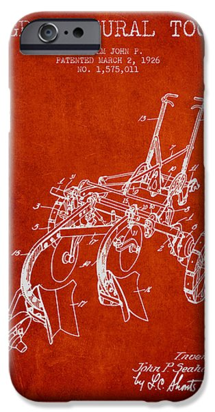 Plow iPhone Cases - Agricultural Tool patent from 1926 - Red iPhone Case by Aged Pixel