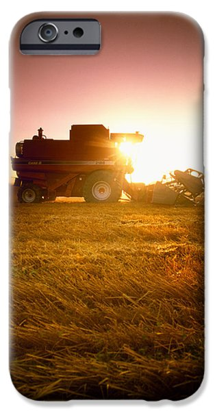 Agriculture - A Combine Harvests Wheat iPhone Case by Mirek Weichsel