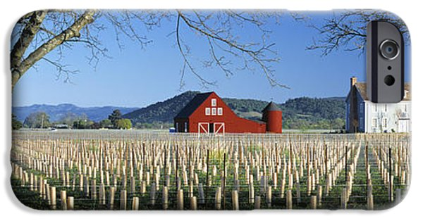 Red Wine iPhone Cases - Agriculture - A New Red Barn And Home iPhone Case by Randy Vaughn-Dotta