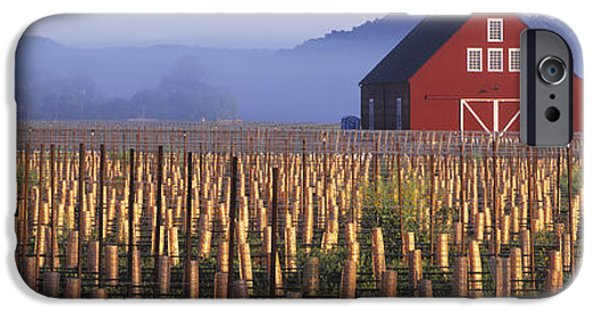 Red Wine iPhone Cases - Agriculture - A New Red Barn Stands iPhone Case by Randy Vaughn-Dotta