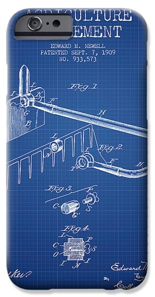 Plow iPhone Cases - Agriculture Implement patent from 1909 - Blueprint iPhone Case by Aged Pixel