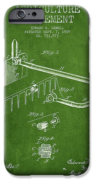 Plow iPhone Cases - Agriculture Implement patent from 1909 - Green iPhone Case by Aged Pixel