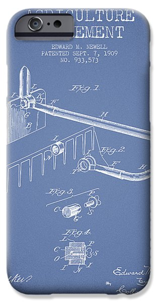 Plow iPhone Cases - Agriculture Implement patent from 1909 - Light Blue iPhone Case by Aged Pixel