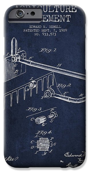 Plow iPhone Cases - Agriculture Implement patent from 1909 - Navy Blue iPhone Case by Aged Pixel