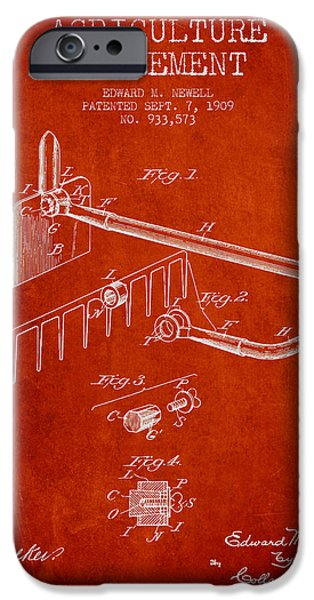 Plow iPhone Cases - Agriculture Implement patent from 1909 - Red iPhone Case by Aged Pixel
