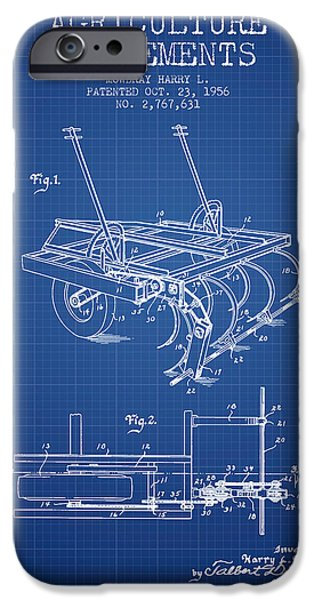 Agriculture iPhone Cases - Agriculture Implements patent from 1956 - Blueprint iPhone Case by Aged Pixel