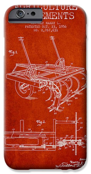 Agriculture iPhone Cases - Agriculture Implements patent from 1956 - Red iPhone Case by Aged Pixel
