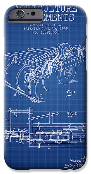 Farm iPhone Cases - Agriculture Implements patent from 1959 - Blueprint iPhone Case by Aged Pixel