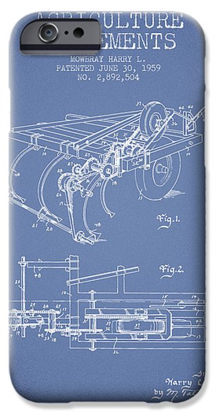 Farm iPhone Cases - Agriculture Implements patent from 1959 - Light Blue iPhone Case by Aged Pixel