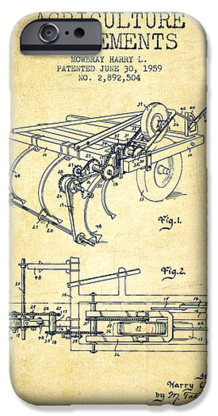 Farm iPhone Cases - Agriculture Implements patent from 1959 - Vintage iPhone Case by Aged Pixel