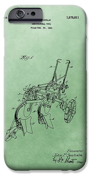 Agriculture Mixed Media iPhone Cases - Agriculture Plow Patent iPhone Case by Dan Sproul