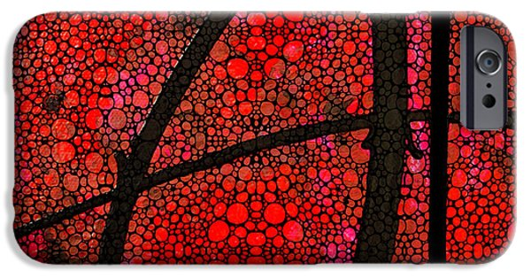 Ultra Modern iPhone Cases - AH - Red Stone Rockd Art by Sharon Cummings iPhone Case by Sharon Cummings