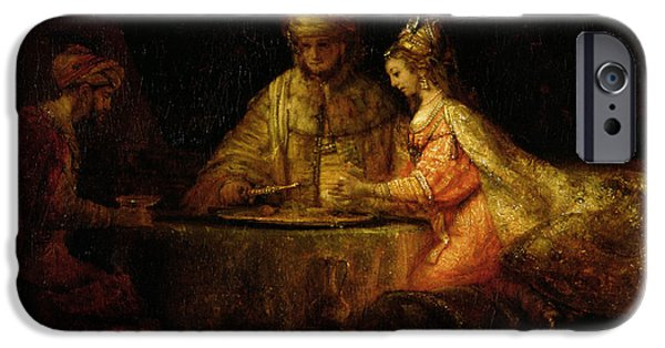 Old Testament iPhone Cases - Ahasuerus Xerxes, Haman And Esther, C.1660 Oil On Canvas iPhone Case by Rembrandt Harmensz. van Rijn