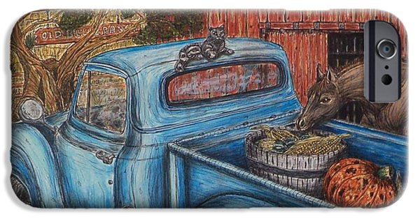 Old Barn Drawing iPhone Cases - Ahh...The Good Life iPhone Case by Kim Jones