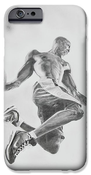 Nike Drawings iPhone Cases - Air Ball iPhone Case by Jennifer Whittemore