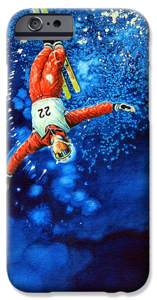 Skiing Action Paintings iPhone Cases - Air Force iPhone Case by Hanne Lore Koehler