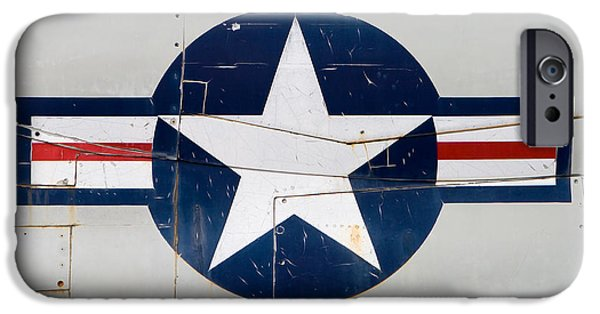 Yorktown iPhone Cases - Air Force Logo on Vintage War Plane iPhone Case by Stephanie McDowell