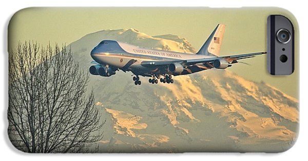 Potus iPhone Cases - Air Force One and Mt Rainier iPhone Case by Jeff Cook