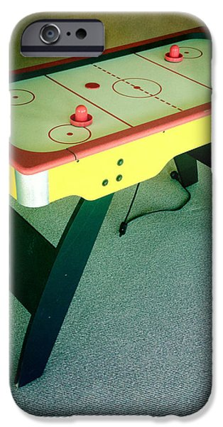 Air hockey table iPhone Case by Les Cunliffe