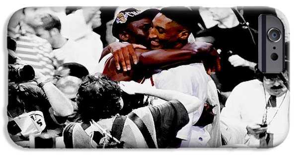 Pippen iPhone Cases - Air Jordan and Scottie Pippen II iPhone Case by Brian Reaves