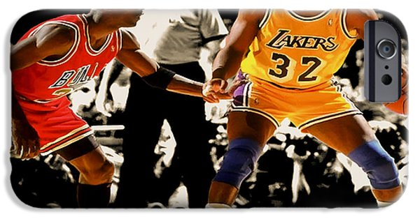 Magic Johnson iPhone Cases - Air Jordan on Magic iPhone Case by Brian Reaves