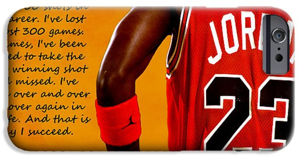 Nike iPhone Cases - Air Jordan Success Quote iPhone Case by Brian Reaves