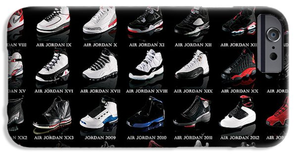 Hall Of Fame iPhone Cases - Air Jordan Shoe Gallery iPhone Case by Brian Reaves