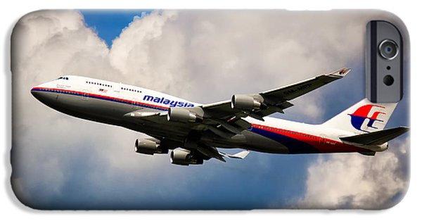 Retraction iPhone Cases - Malaysia Airlines B-747-400 iPhone Case by Rene Triay Photography