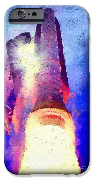 Outer Space Paintings iPhone Cases - Airborn spacecraft iPhone Case by Magomed Magomedagaev