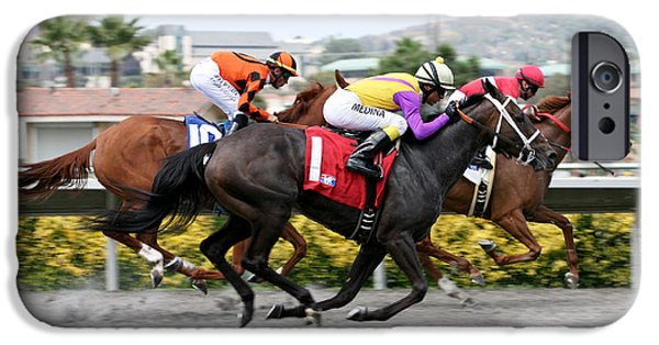Horse Racing iPhone Cases - Airborne iPhone Case by Steve Parr