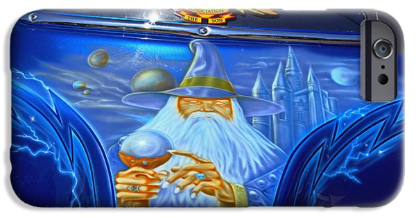 Airbrush Photographs iPhone Cases - Airbrush Magic - Wizard Merlin on a Motorcycle iPhone Case by Christine Till
