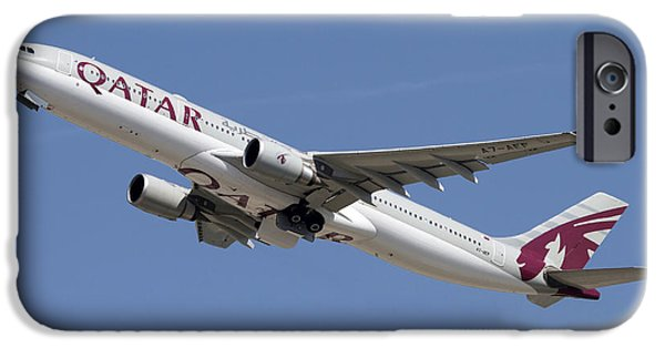 Airways Photographs iPhone Cases - Airbus A330-300 Of Qatar Airways iPhone Case by Luca Nicolotti