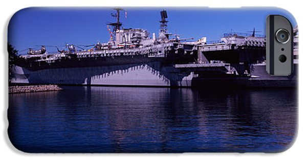 Carrier iPhone Cases - Aircraft Carriers At A Museum, San iPhone Case by Panoramic Images