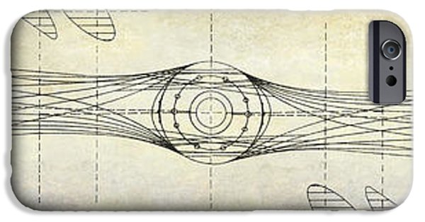 Ww1 iPhone Cases - Aircraft Propeller Blueprint Drawing iPhone Case by Jon Neidert