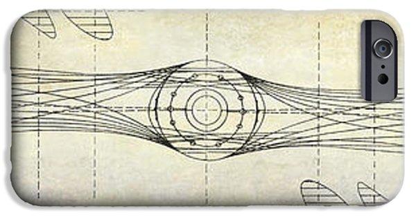 Ww1 Photographs iPhone Cases - Aircraft Propeller Blueprint Drawing iPhone Case by Jon Neidert