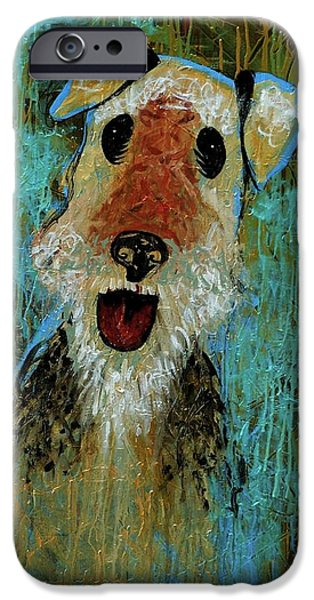 Four Animal Faces iPhone Cases - Airedale Terrier iPhone Case by Genevieve Esson