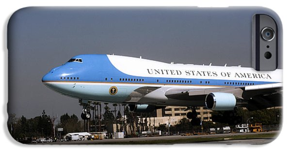 President Obama iPhone Cases - Airforce One Touchdown By Denise Dube iPhone Case by Denise Dube