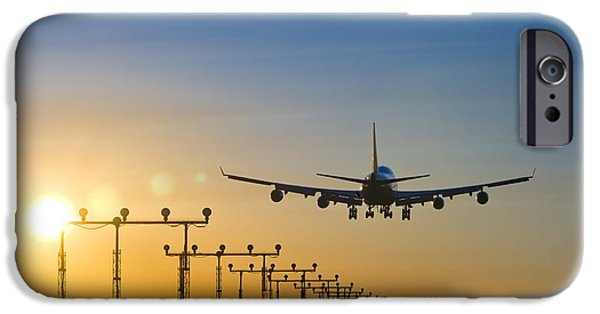 Technological iPhone Cases - Airplane Landing At Sunset, Canada iPhone Case by David Nunuk