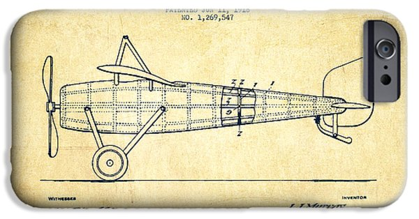 Flight iPhone Cases - Airplane Patent Drawing from 1918 - Vintage iPhone Case by Aged Pixel
