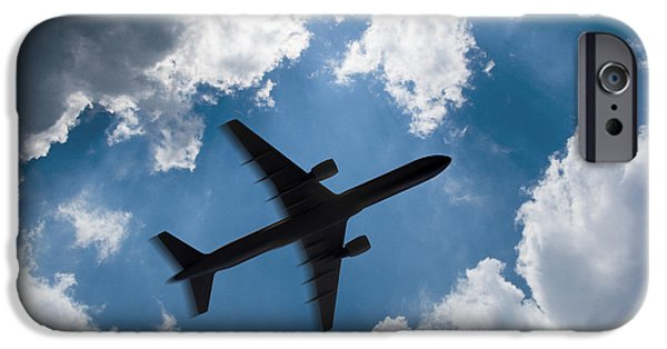 Airliner iPhone Cases - Airplane silhouette 2 iPhone Case by Tony Cordoza