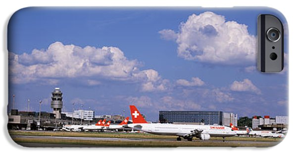 Mode Of Transport iPhone Cases - Airplane Taking Off, Zurich Airport iPhone Case by Panoramic Images