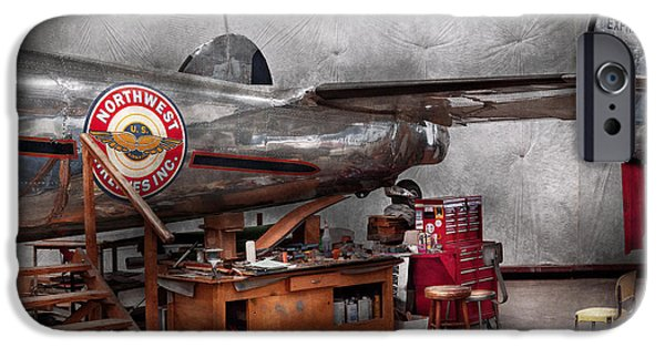 Suburbanscenes iPhone Cases - Airplane - The repair hanger  iPhone Case by Mike Savad