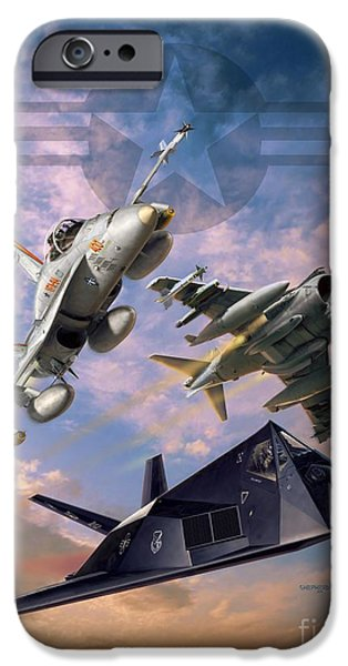 Iraq Digital iPhone Cases - Airpower Over Iraq iPhone Case by Stu Shepherd