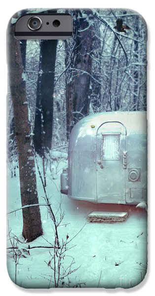 Best Sellers -  - Wintertime iPhone Cases - Airstream Trailer in Snowy Woods iPhone Case by Jill Battaglia