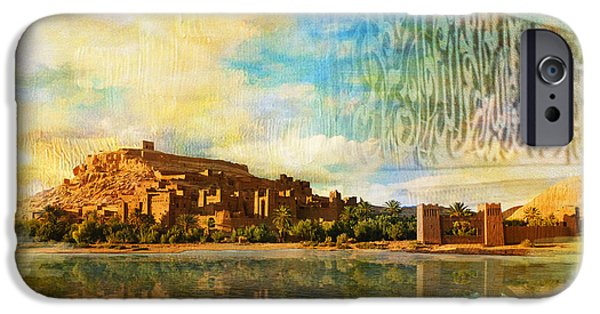 Historic Site Paintings iPhone Cases - Ait Benhaddou  iPhone Case by Catf